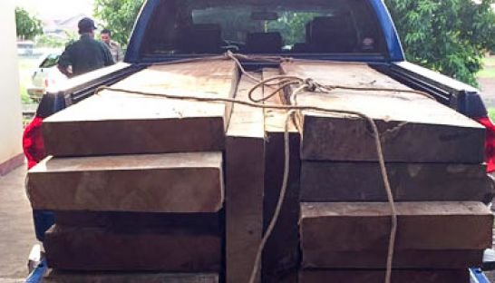a_vehicle_loaded_with_illigal_lumber_sits_at_a_police_station_yesterday_after_it_was_siezed_by_authorities_in_preah_vihear_27_07_2016_national_police