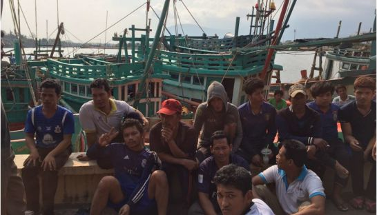 Kampot fishery community members protest to demand intervention to stop the Vietnamese fishermen to fish illegally in Cambodian waters. Photo supplied.