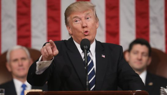 US President Donald Trump delivers his first address to a joint session of Congress from the floor of the House of Representatives last week in Washington. Jim Lo Scalzo/AFP
