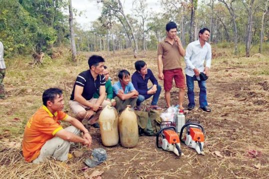 Vietnamese nationals who were arrested in Mondulkiri for illegal logging activities earlier this month were in possession of excavators bearing the logo of Duong Sruoch Group.